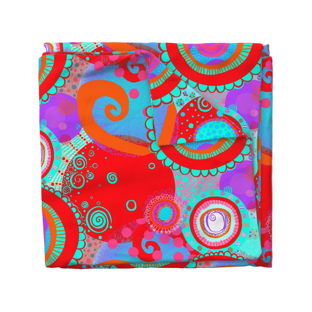 Wyandotte Duvet Cover featuring Round and Happy: Circles of Pure Playful Ecstatically Bouncing Joy by tallulahdahling