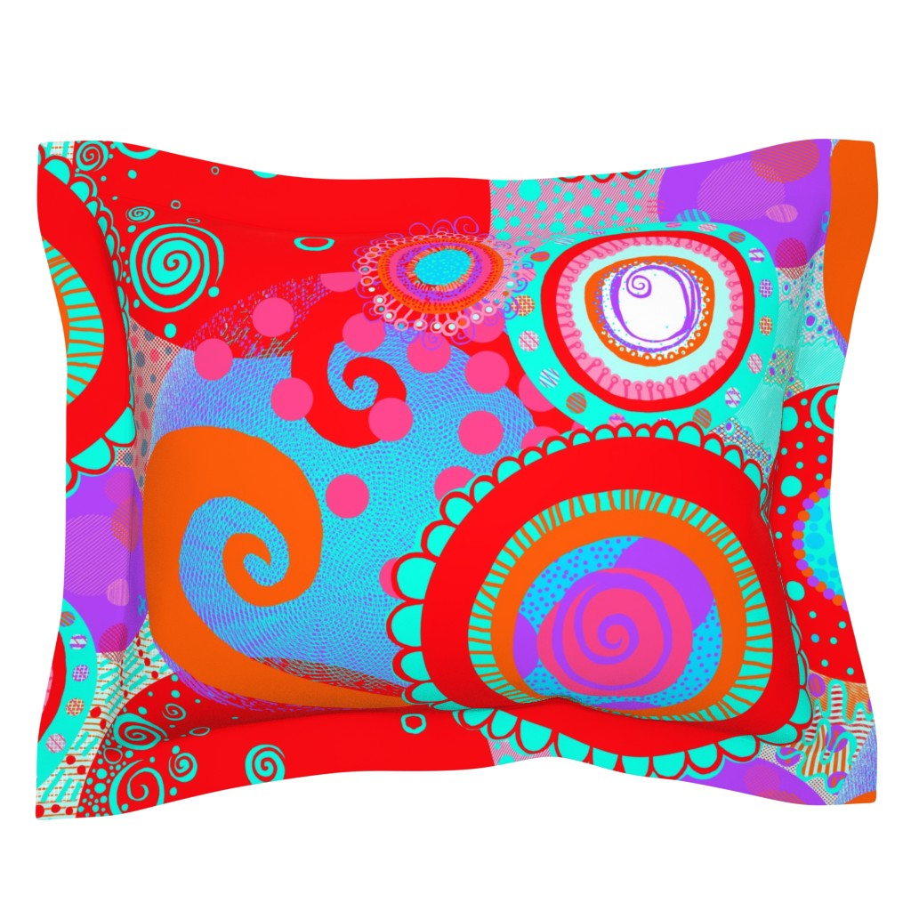 Sebright Pillow Sham featuring Round and Happy: Circles of Pure Playful Ecstatically Bouncing Joy by tallulahdahling