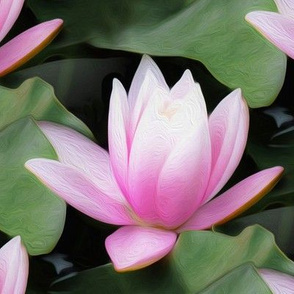 water lily - pink/green - painting effect - large