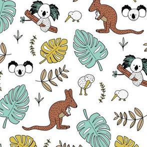 Australian outback animals and New Zealand birds jungle leaves illustration print kids summer mint boys