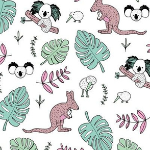 Australian outback animals and New Zealand birds jungle leaves illustration print kids summer mint pink girls