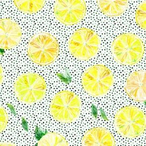 Summer lemonade with green dots || watercolor lemons