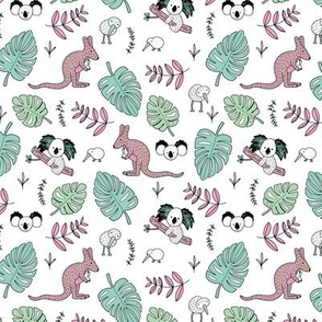Australian outback animals and New Zealand birds jungle leaves illustration print kids summer mint pink girls SMALL