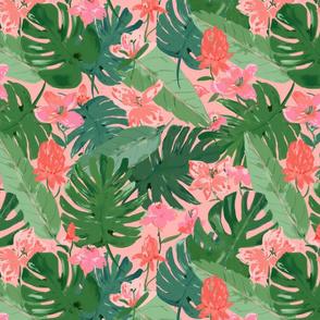Tropical floral  - medium scale