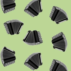 button accordion on green