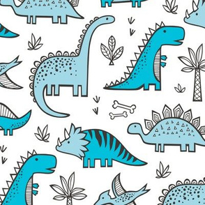 Dinosaurs in Blue on White