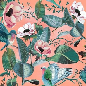 tropical anemones + birds