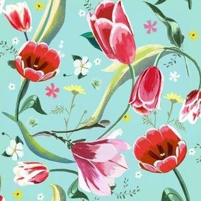 tulips magnolia spring