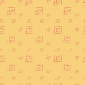 Yellow and Coral  - Squares - Support pattern