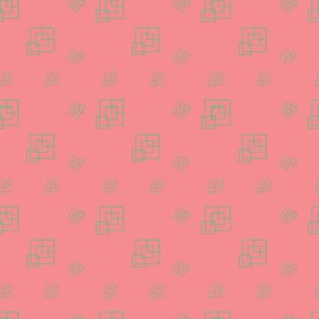 Green Mint & Pink  - Squares - Support pattern