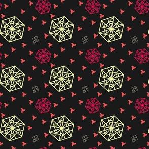Hexagon and Squares Black Yellow tones