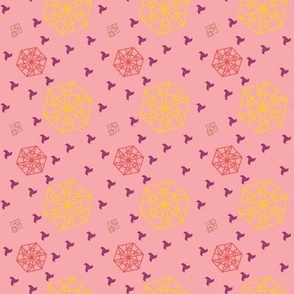Hexagon and Squares Pink tones