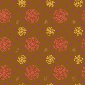 Hexagon and Squares Violet Coral tones