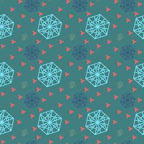 Hexagon and Squares Ocean Sea tones