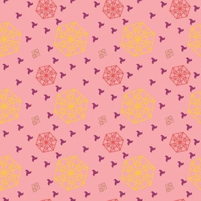 Hexagon and Squares Coral Pink tones