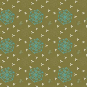Hexagon and Squares Olive green tones