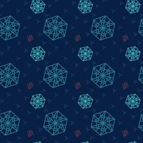 Hexagon and Squares Deep Blue tones
