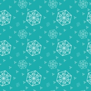 Hexagon and Squares Cyan tones