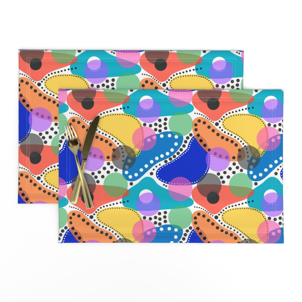 Lamona Cloth Placemats featuring Australiana Abstract - multi (white)  by bravenewart