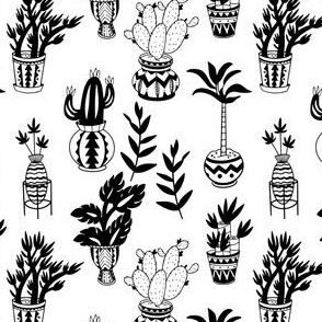 Potted Plant Pattern in Black and White