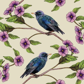 Colorful Blackbirds With Pink Flowers - Floral Bird Pattern