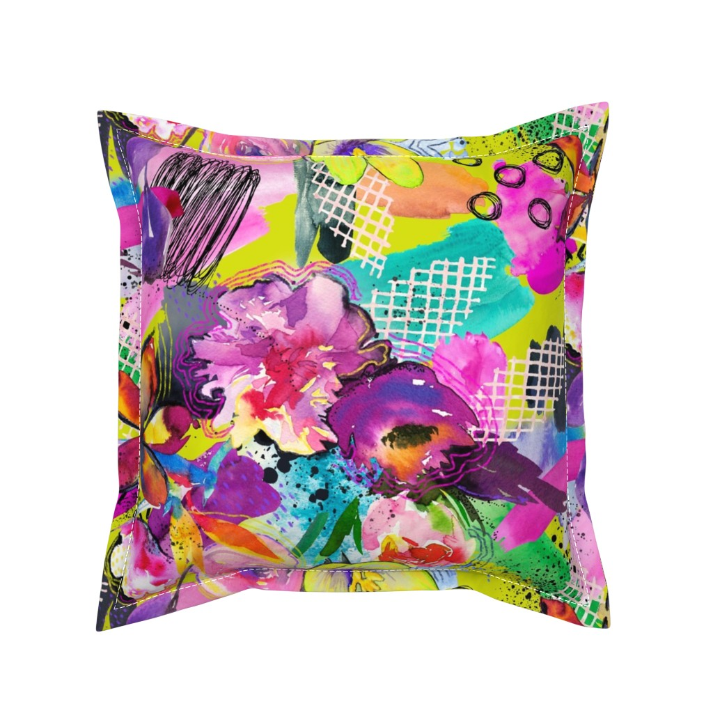 Serama Throw Pillow featuring Neon Maximalist Sketchy Floral  by theartwerks