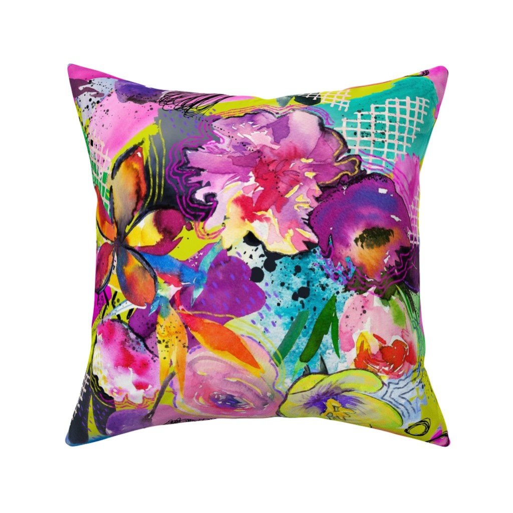 Catalan Throw Pillow featuring Neon Maximalist Sketchy Floral  by theartwerks