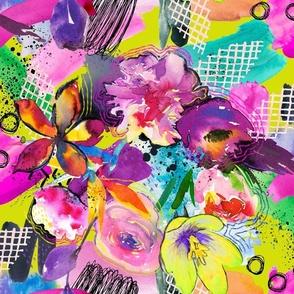 Neon Maximalist Sketchy Floral