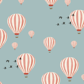 Hot Air Balloons over the Safari (on blue)
