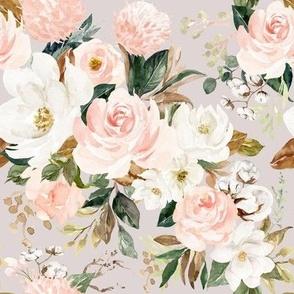 Vintage Magnolia Florals // Swiss Coffee