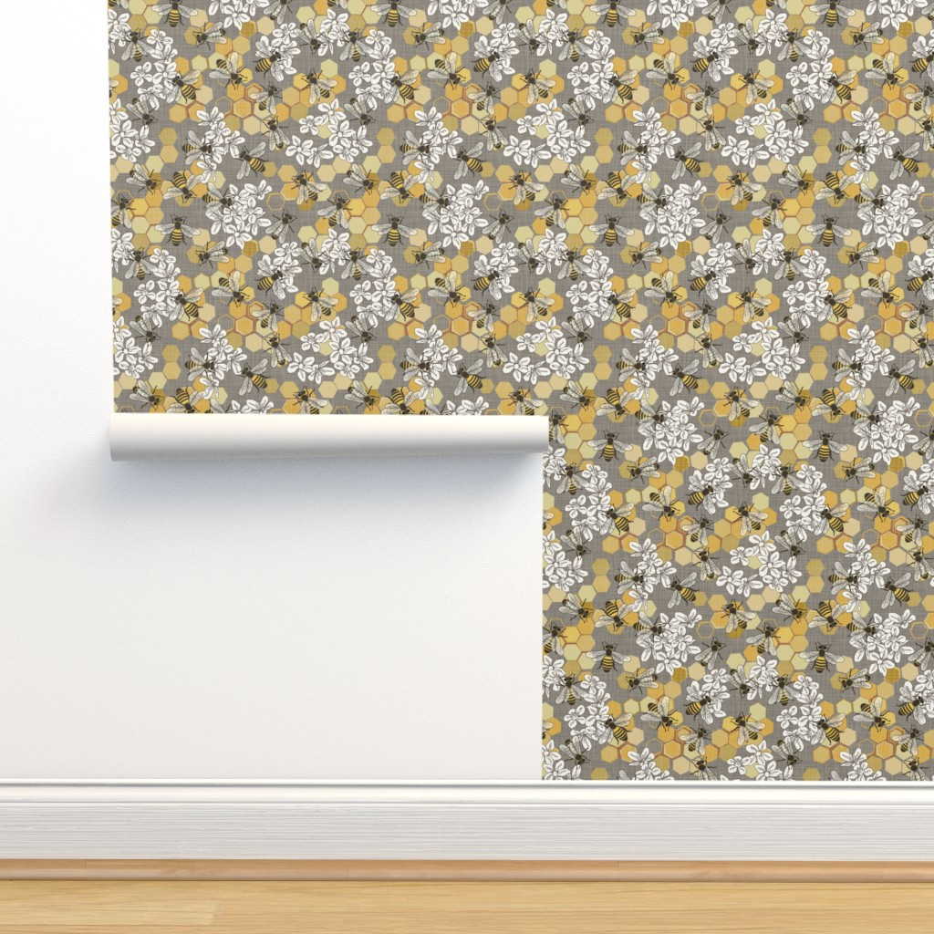 Isobar Durable Wallpaper featuring Honey Bees - Taupe,  H Wht - Medium by fernlesliestudio