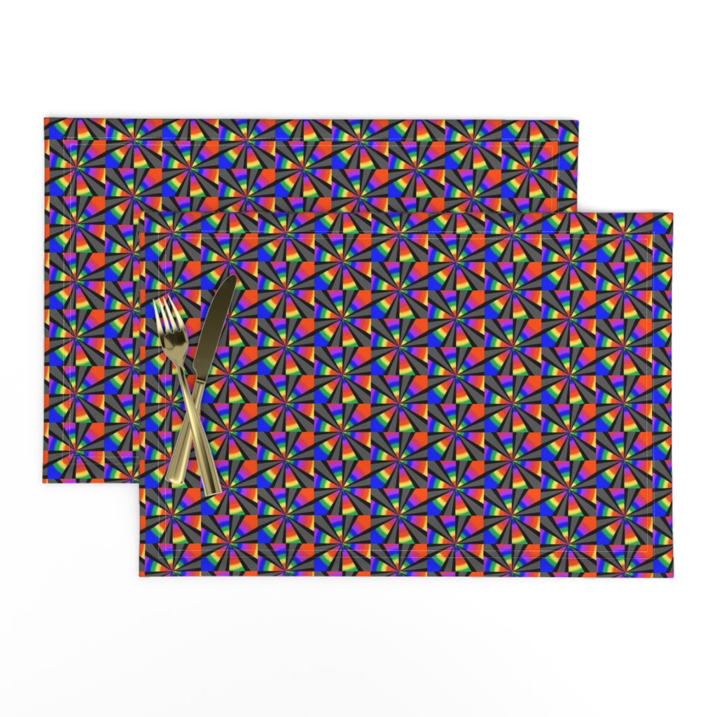 Lamona Cloth Placemats featuring Rainbow Revelry Pinwheels on Black and Grey by maryyx