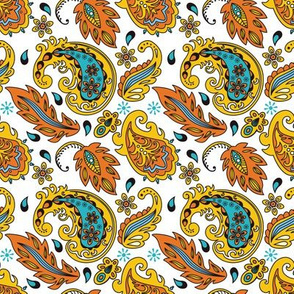 Delicate Autumn Paisley Leaves Floral Pattern