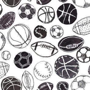 Sports Balls in Black and White - Baseball, Football, Basketball and Soccer Standard Size