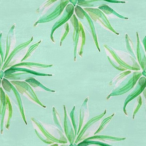 19-04E Mint Nautical  Green Succulent Watercolor