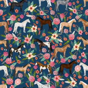 horse multi coat floral horses fabric - navy