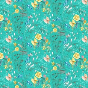 Let's Go Pick Wildflowers (teal) MICRO