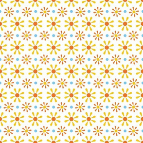 Yellow Marigold Daisy Floral Pattern