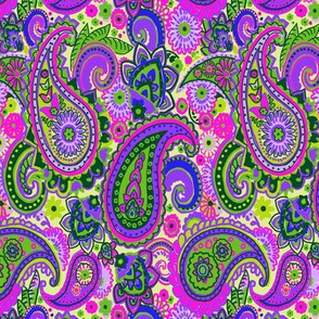 Neon Spring Green India Paisley Purple Pink
