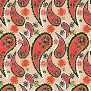 Bright Coral Red Orange Neon Paisley Pattern