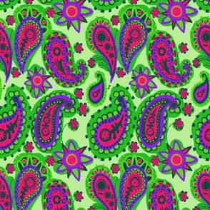 Psychedelic Neon Green Pink Hand Drawn Paisley