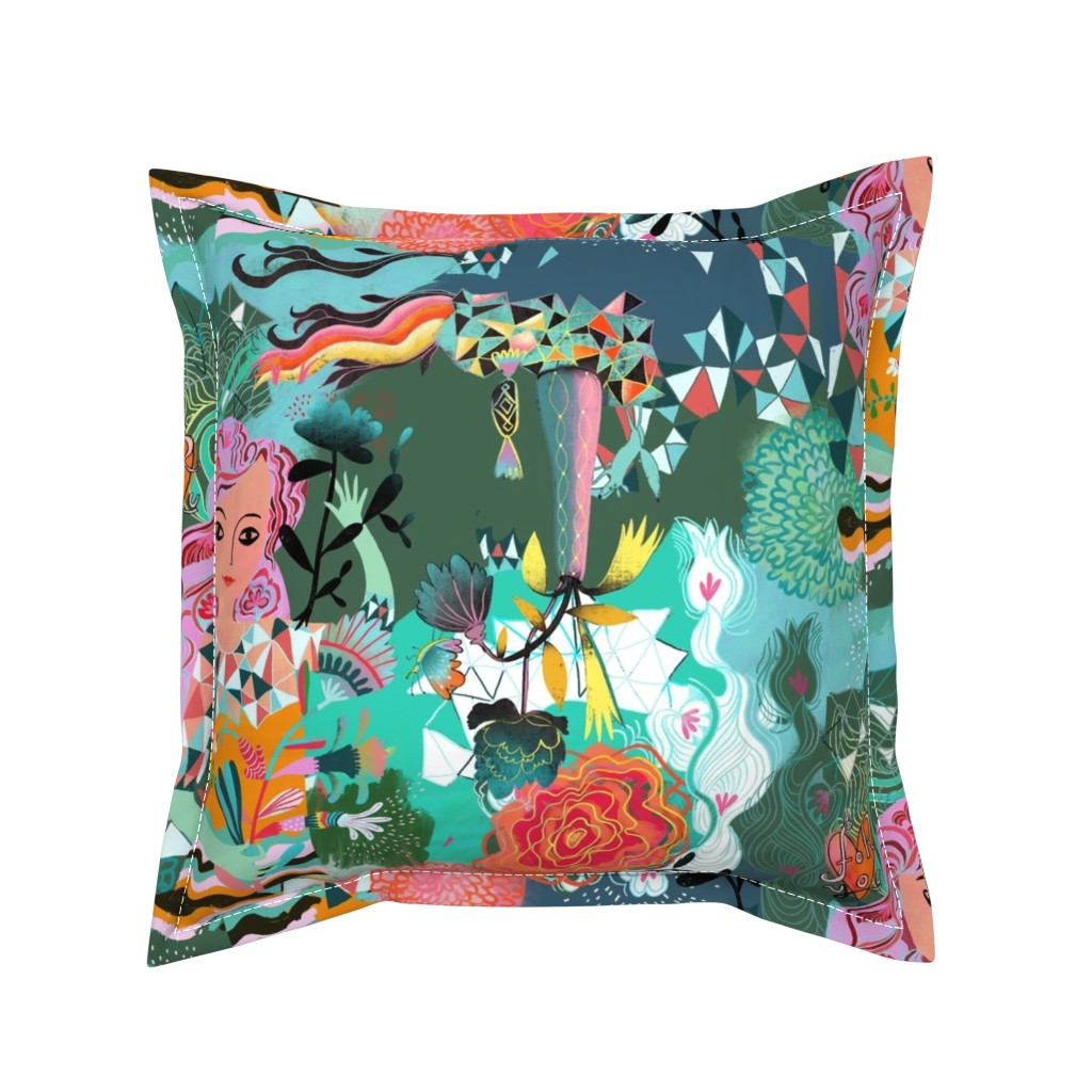 Serama Throw Pillow featuring mysterious flower girl by miraparadies