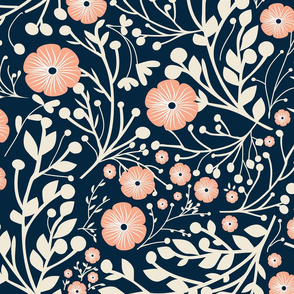 florals with blue background