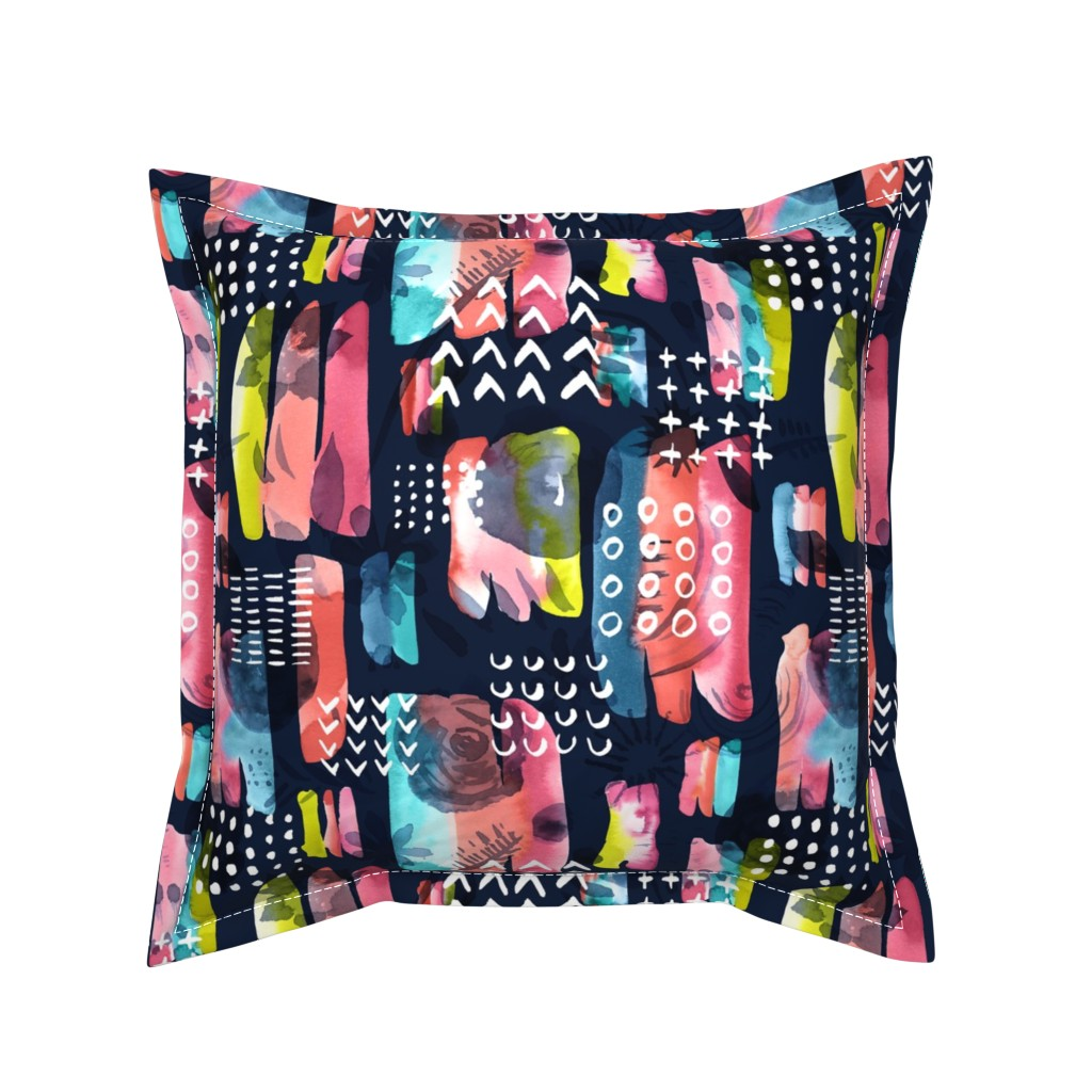 Serama Throw Pillow featuring Maximalist Abstract Watercolor Grid by marketa_stengl