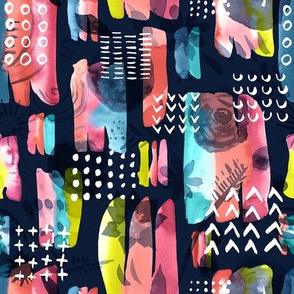 Maximalist Abstract Watercolor Grid / Small