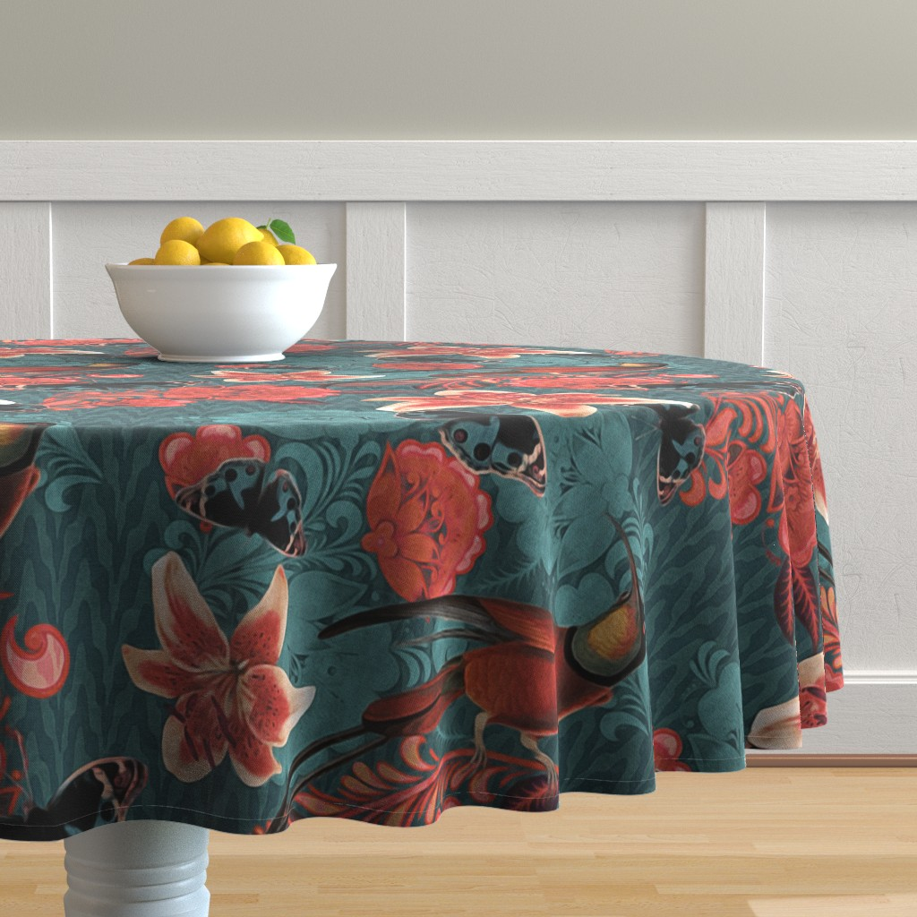Malay Round Tablecloth featuring maximalist elegance by dessineo