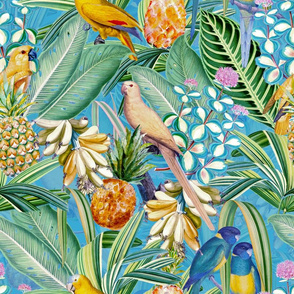 "18"" Pierre-Joseph Redouté tropicals Lush tropical vintage Jungle blossoms summer bird paradise in shiny teal"