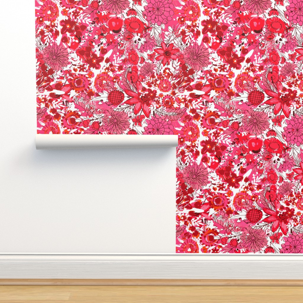 Isobar Durable Wallpaper featuring Maximalism - Tropical Reds by sarah_treu