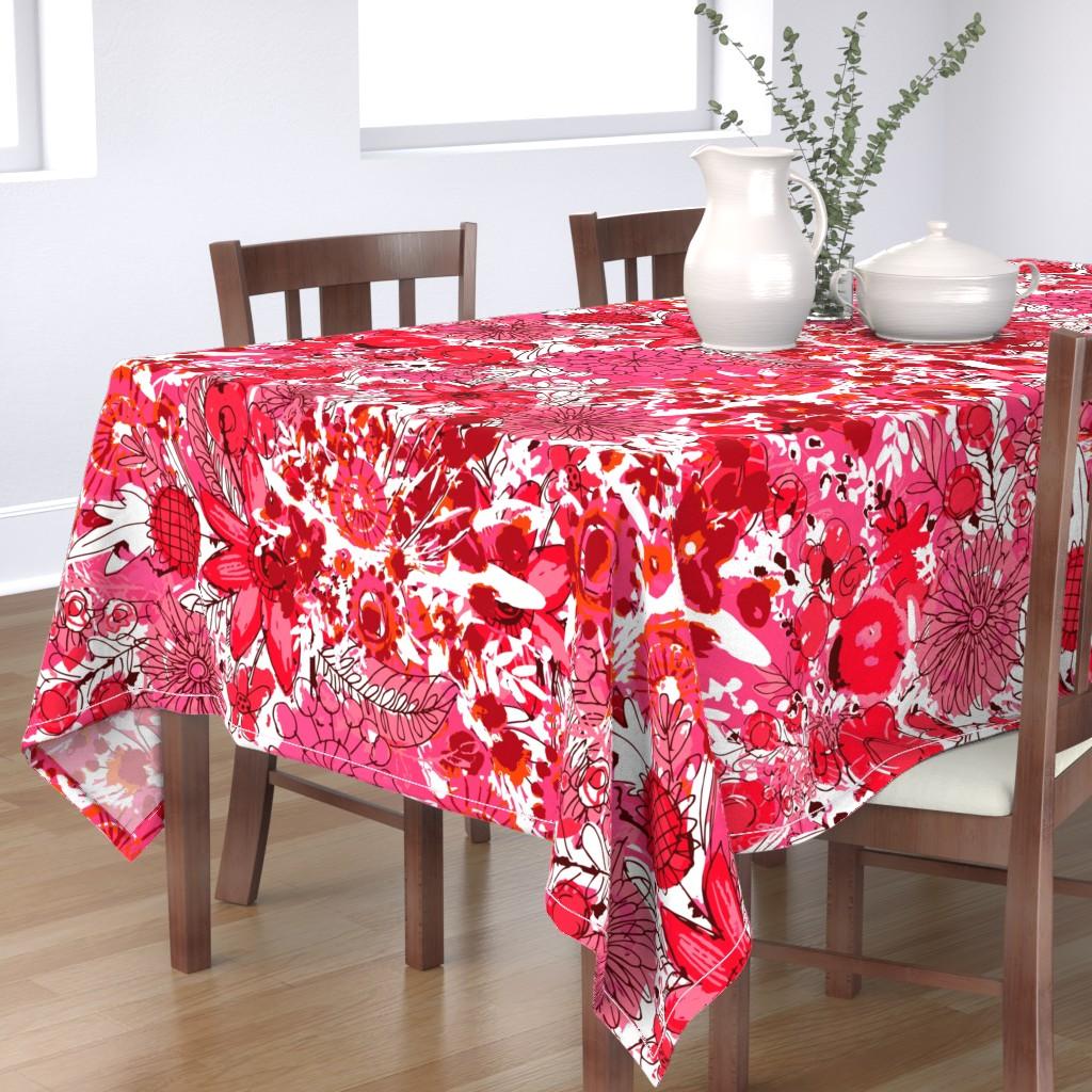 Bantam Rectangular Tablecloth featuring Maximalism - Tropical Reds by sarah_treu