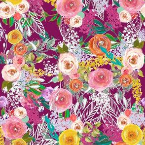 Autumn Blooms Painted Floral //Mulberry (Small)